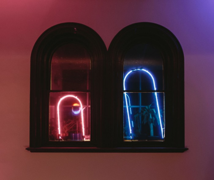 Echoes windows 2019 site specific neon light installation Arts House image Duncan Jacob LR